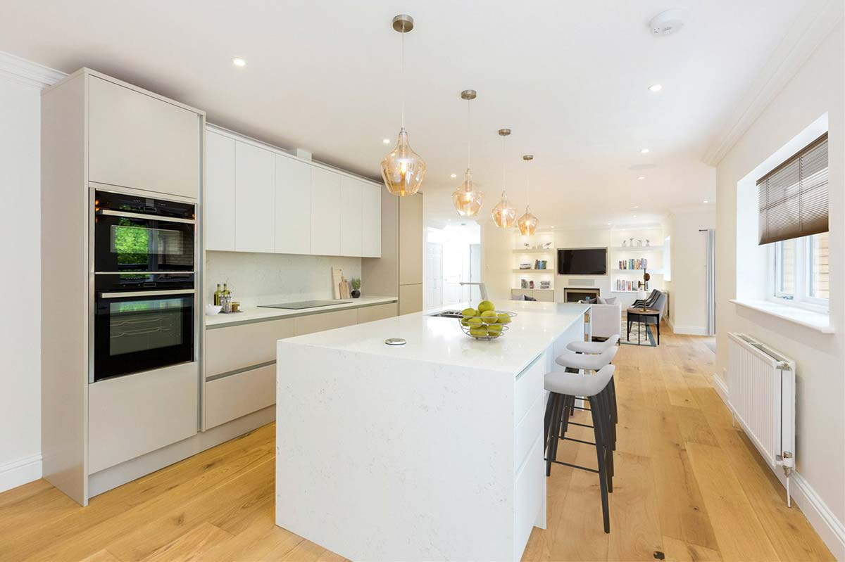 Modern white kitchen planned, designed, installed and fitted by Redline Interiors
